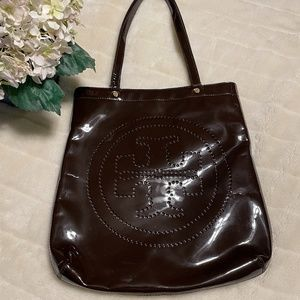Tory Burch Patent Leather Perforated Logo Tote
